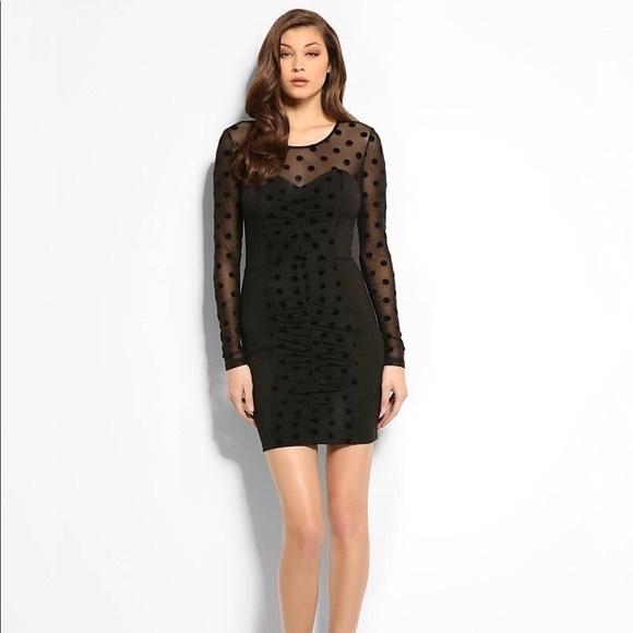 Guess Dresses Long Sleeve Black Mesh Bodycon Dress Poshmark